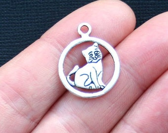 10 Cat Charms Antique  Silver Tone Simply Adorable - SC3153