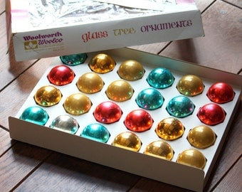 Vintage Glass Ball Christmas Tree Ornaments - Box of 24