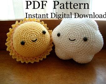 Instant Digital Download PDF Crochet Pattern Sun & Cloud