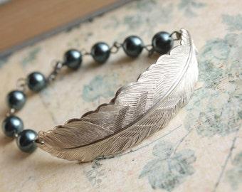 Feather Bracelet Silver Feather Smokey Dark Blue Pearls Navy Night Sky Grey Silver Metal Woodland Wedding Jewellery Nature Inspired Bird