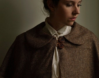 herringbone wool  Strolling Capelet with peter pan collar, handmade wooden buttons- made to order