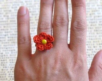 Red Orange Crochet Flower Ring