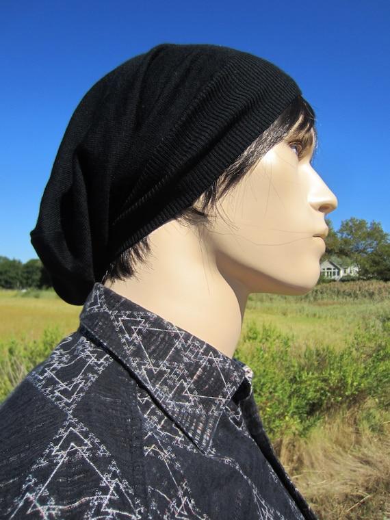 Grand format noir pour homme chapeau laine Tuque Chapeau mérinos italien laine tricot grosse tête lâche