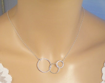 Sterling Silver 3 Circle Necklace, 3-D Interlocking Infinity Circles Necklace, Eternity Necklace, Inseparable Circles Textured or Smooth