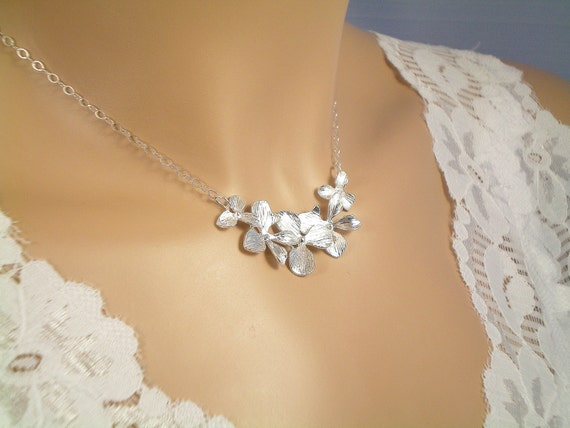 5 Silver Orchid Necklace, Sterling Silver Chain, Bridesmaid gift