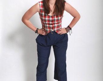 Vintage 1980s high waist wide leg navy blue nautical pants small