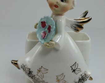 Vintage Angel Planter White Gold Ceramic Baum
