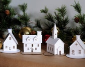 DIY Putz Village Ornament Kit of 4 Christmas Glitter House Decorations