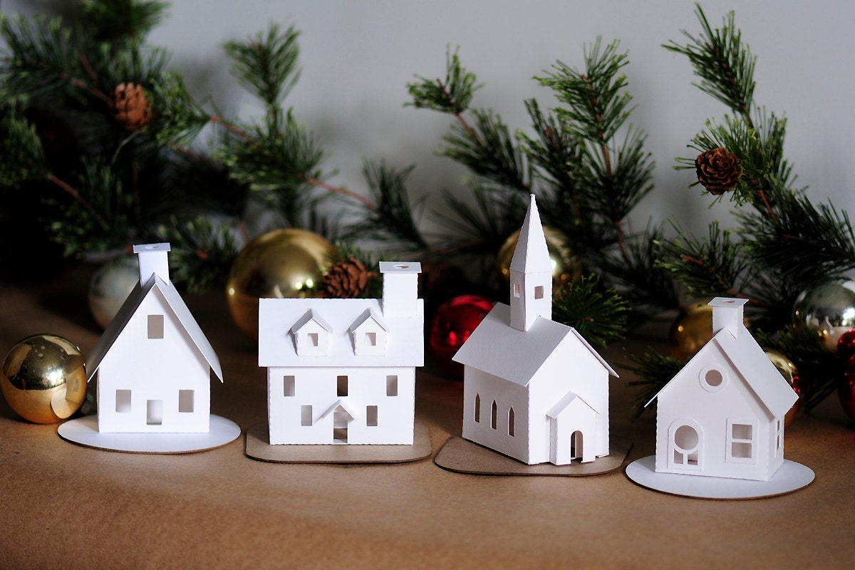 Diy putz village ornament kit of 4 christmas glitter house for Home decorations to make