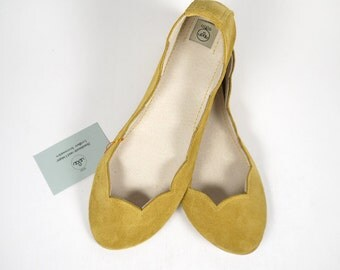 Sunflower Yellow Soft Suede Scalloped Handmade Ballet Flats
