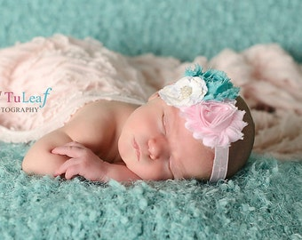Shabby Chic Pink Turquoise White Headband  (Newborn, Toddler, Child)