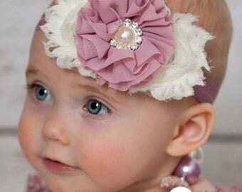 Baby headbands, Baby Headband,Ivory Headband,baby girl headband,Girls Headband,Mauve Headband,Girls Headband, Easter Headband,Baby Bows.