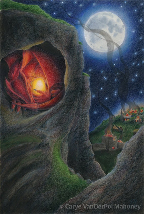"""Red Mother dragon protects a golden glowing egg, a village burns under a night sky with a full moon - Art Reproduction (Print) - """"Maternal"""""""