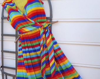 Rainbow Dress, Sleeveless Dress, Long Dress, Maxi Dress, Striped Dress, Womens Designer Dress, Summer Dress, Multicolor Dress
