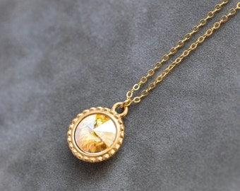 November Birthstone Necklace, Gold Ctirine Jewelry, Swarovski Crystal Birthstone, Champagne Pendant, Fancy Setting, Citrine Necklace