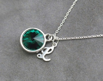 Emerald Birthstone Necklace, Personalized Silver Initial Jewelry, May Birthday Gift, Custom Emerald Necklace
