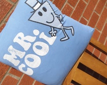 Mr. Cool Mr. Men blue geek fun cartoon Pillow Cushion Cover Upcycled Tshirts Eco