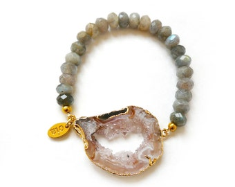 Bliss Bracelet - Gold Plated Druzy Agate with Labradorite Faceted Beads, beaded bracelet, druzy jewelry