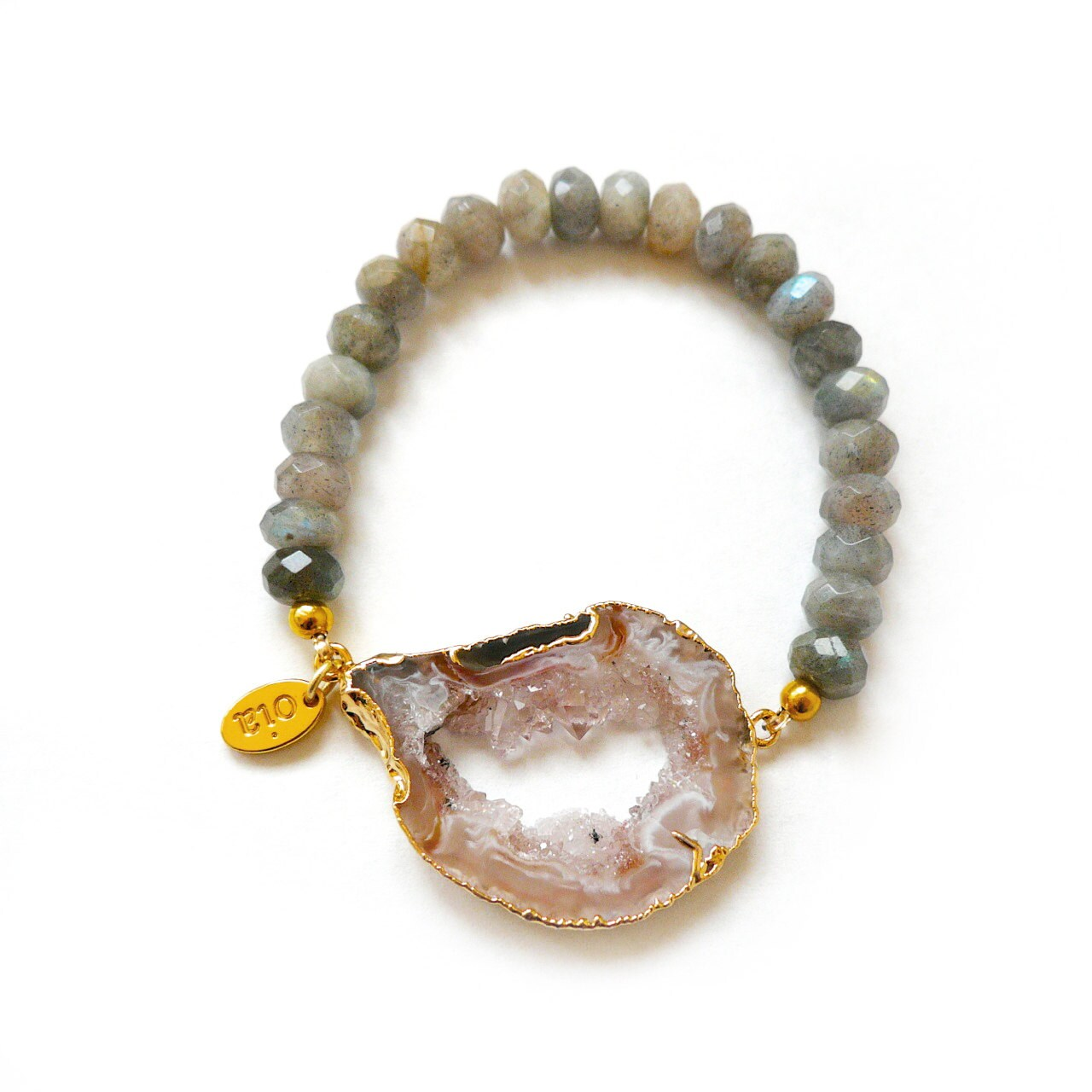 bliss bracelet gold plated druzy agate by elizabethstonejewels