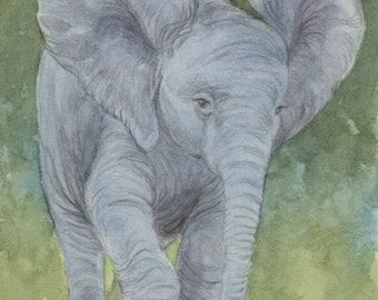 Baby Elephant 5x7 Print with original doodle and matted