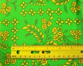 "Vintage 36"" Wide Spring Green Flora and Fauna Cotton Textile Fabric - Over 1 yd"