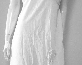 Vintage Nylon Applique & Lace Micro Pleated Full Slip Size 34 NOS