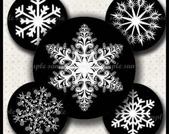 INSTANT DOWNLOAD Black And White Snowflakes (648) 4x6 and 8.5x11 ( 30mm ) Digital Collage Sheet glass tiles cabochon pendants images