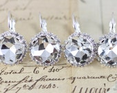 Bridesmaids Earrings Crystal Earrings Set of 3 Pairs Bridal Party Gift Wedding Jewelry Clear Set Bridesmaids Jewelry Clip On Avail Silver