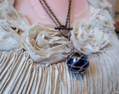 Giant Fishing Float Pendant Found Object Necklace - Royal Blue