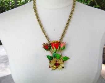 Statement Necklace, Reclaimed, Vintage, Upcycled, Brooch, Vintage Enamel Flower, Red, Rose, Gold, Valentine, OOAK - Rosebud Bouquet - SALE