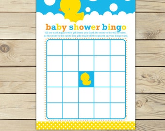 Rubber Duck Baby Shower Bingo Game - Yellow and Blue Baby Shower Game - Rubber Ducky Baby Shower Games Printable - Instant Download
