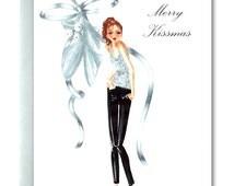 Christmas Card, Kissing, Fashionista, Merry Kissmas, Mistletoe, Holiday Card, High Heel Oxfords, Handmade Christmas Card, Sexy Card