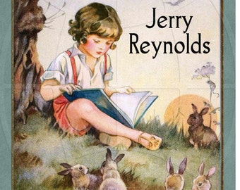 Boy Reading to his Forest Friends - ADHESIVE Bookplates - Personalized Bookplates - Vintage Art - STICKERS- Lovely Gift