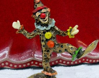 Vintage Brass Colorful Clown Figurine