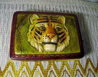 Vintage Tiger Box - Safari, Big Cat, Enesco, Ceramic