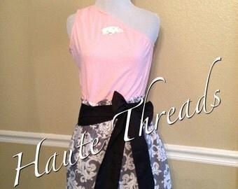 Arkansas Razorbacks HOGS Gameday Pink One-Shouldered Football Dress with Black Sash Bow - Medium