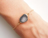 Druzy Bracelet in Black and White - OOAK Jewelry