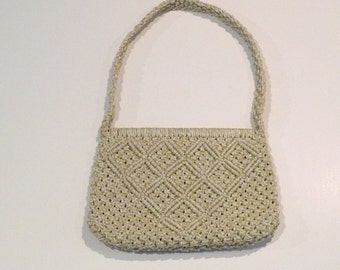 Macrame Bag Vintage Macrame Tote Bag Knotted Cord Handbag Summer Satchel Boho Hippie Resort Gypsy 1970s Handmade OOAK