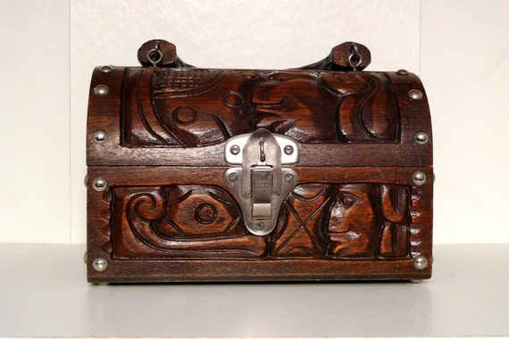 Treasure Chest Wooden Box Bag Purse 60s Hand Carved Honduras