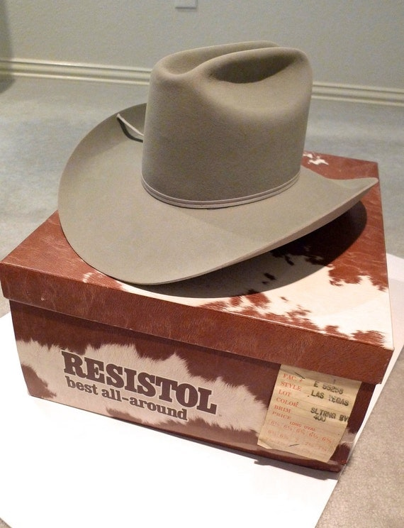 Resistol Cowboy Hat Las Vegas Style Unisex Gray 7 5X Beaver Cattlemens Country Western Wear Cowgirl 80's Like New Long Oval FREE USA SHIP