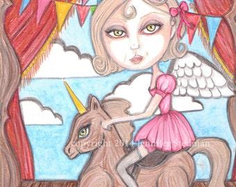 big eyes girl, print, magic, Angel, wooden horse, stage, low brow, unicorn,pink dress, fantasy