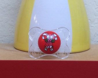 Christmas CandyCane Custom Hand Painted Pacifier by PiquantDesigns