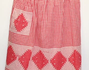 Vintage Red and White Check, Cross Stitcheded Apron, Farmhouse Decor