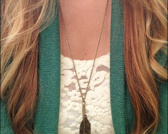 Triple Bronze Feather Necklace