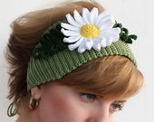 Ear warmer, Crochet  Green headband, Hair accessory, crochet floral headband, unique, handmade.