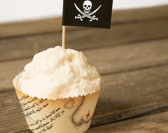 Pirate Cupcake Wrapper and Topper Set - Printable PDF