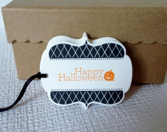 Set of 6 Hand Stamped Halloween, Tags Treat Bag Tags, Trick of Treat Tags, Candy Bag Tags, Party Tags