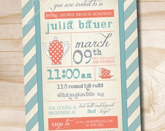 VINTAGE TEA POSTER Bridal Shower Invitation / Baby Shower Invitation - Printable digital file or printed invitations