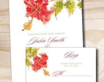 WATERCOLOR HIBISCUS Wedding Invitation/Response Card - 100 Professionally Printed Invitations & Response Cards