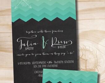 CHEVRON OMBRE Wedding Invitation/Response Card -  100 Professionally Printed Invitations & Response Cards
